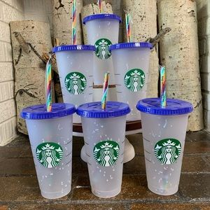 Five Starbucks Confetti Color Changing Cups New